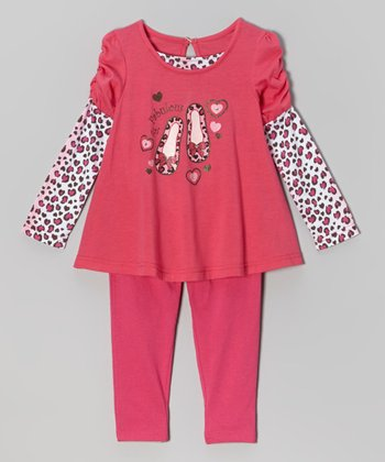 Hot Pink Shoe Top & Brown Leggings - Infant