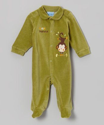 Green Monkey Velour Footie - Infant