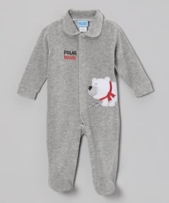 Gray 'Polar Buddy' Velour Footie - Infant