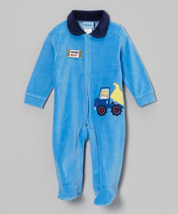 Blue Truck Velour Footie - Infant