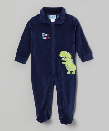 Navy 'Dino Dude' Velour Footie - Infant