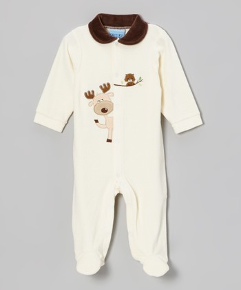 White Reindeer Velour Footie - Infant