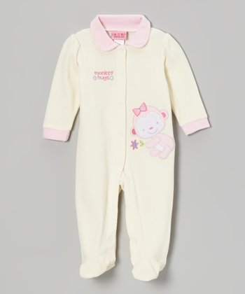 Cream Monkey Velour Footie - Infant