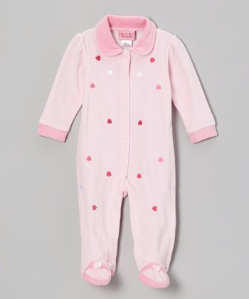 Light Pink Hearts Velour Footie - Infant