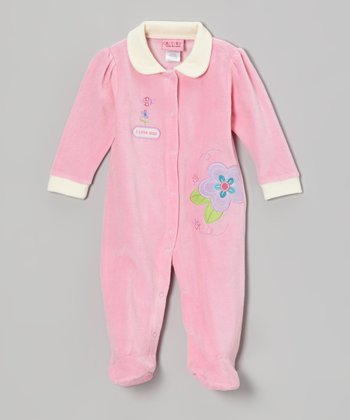 Pink Flowers Velour Footie - Infant
