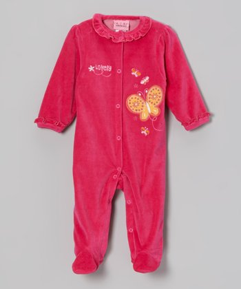 Hot Pink Butterfly Velour Footie - Infant