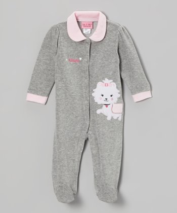 Gray Puppy Velour Footie - Infant
