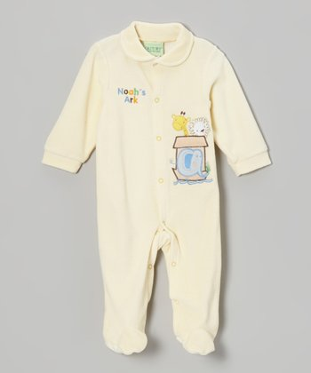 Yellow 'Noah's Ark' Velour Footie - Infant