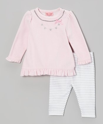 Pink Velour Tunic & Stripe Leggings - Infant