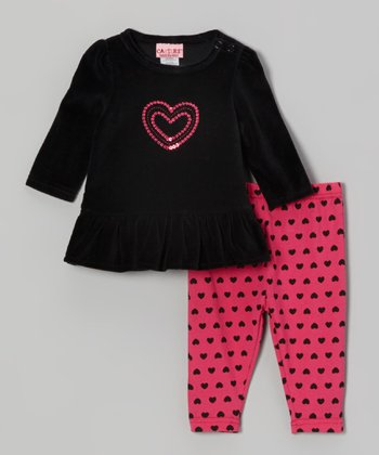 Black Velour Tunic & Heart Leggings - Infant