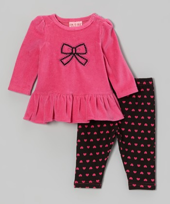 Hot Pink Velour Tunic & Heart Leggings - Infant