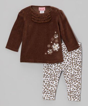 Brown Velour Tunic & Leopard Leggings - Infant