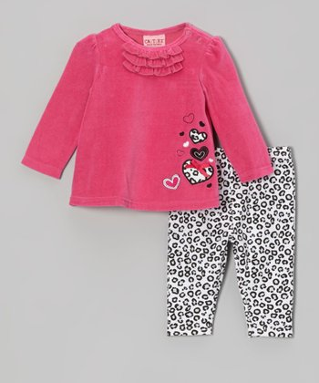 Hot Pink Velour Tunic & Leopard Leggings - Infant
