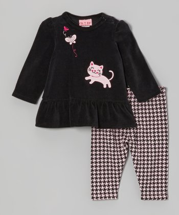 Black Velour Tunic & Houndstooth Leggings - Infant