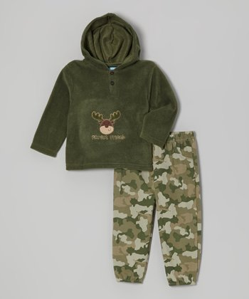 Green Reindeer Fleece Hoodie & Camo Pants - Infant & Toddler