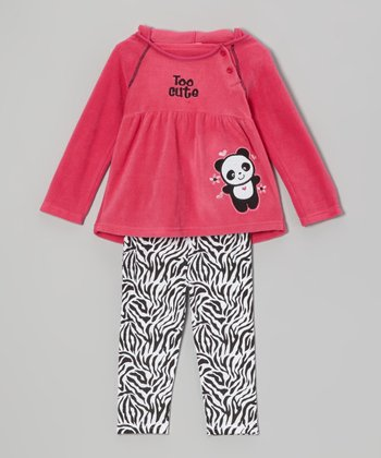 Hot Pink Panda Hooded Tunic & Zebra Leggings - Infant & Toddler