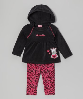 Black Hooded Tunic & Zebra Leggings - Infant