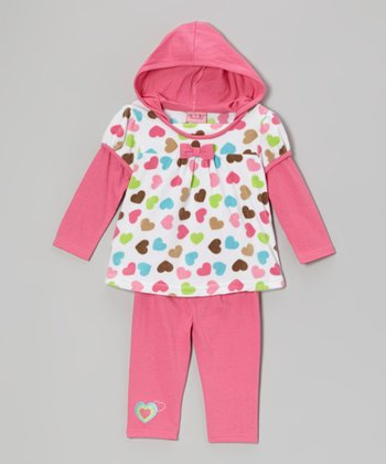 Hot Pink Hearts Hooded Tunic & Leggings - Infant & Toddler