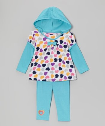 Teal Hearts Hooded Tunic & Leggings - Infant & Toddler
