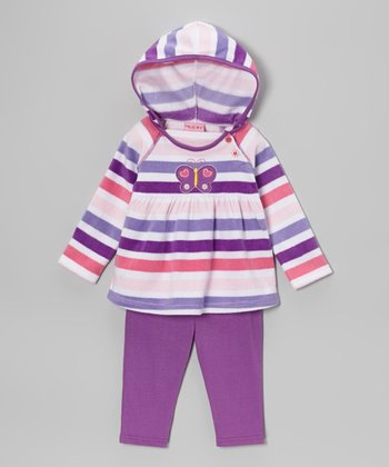 Purple Butterfly Hooded Tunic & Leggings - Infant