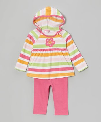 Hot Pink Flower Hooded Tunic & Leggings - Infant