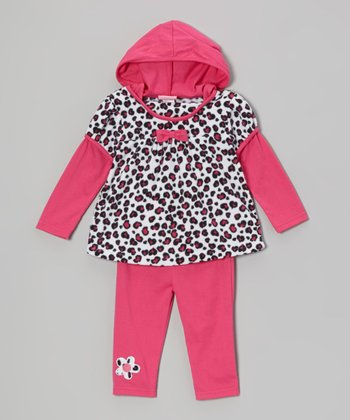 Hot Pink Leopard Hooded Tunic & Leggings - Infant & Toddler