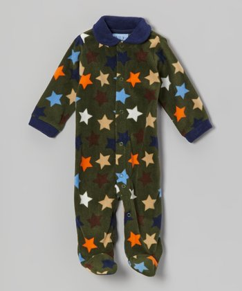 Green Stars Polar Fleece Footie - Infant