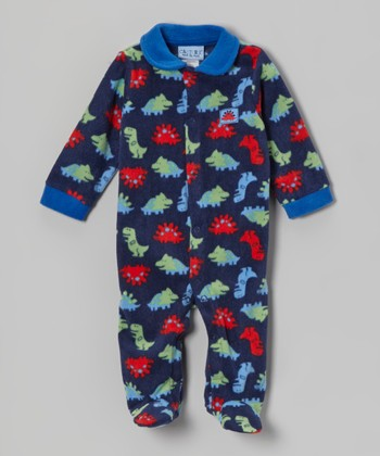 Navy Dinosaur Polar Fleece Footie - Infant