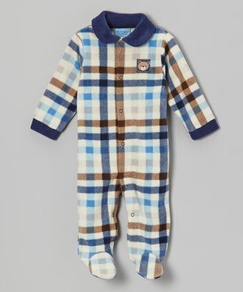 Blue Plaid Polar Fleece Footie - Infant