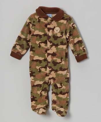 Green Camo Polar Fleece Footie - Infant