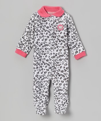 Gray Leopard Polar Fleece Footie - Infant