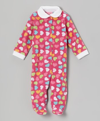 Hot Pink Hearts Fleece Footie - Infant