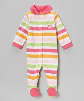 Pink Stripe Polar Fleece Footie - Infant