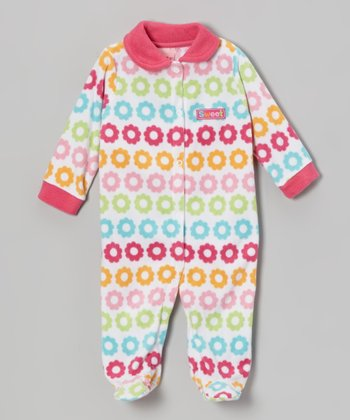 Pink Flower Polar Fleece Footie - Infant