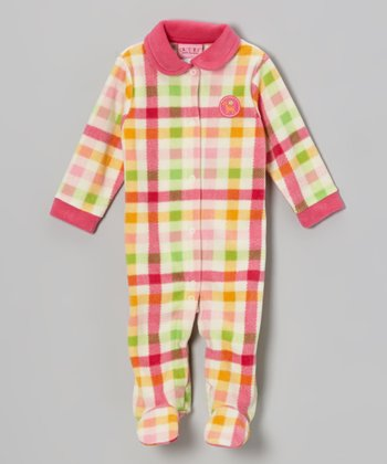 Pink Plaid Polar Fleece Footie - Infant