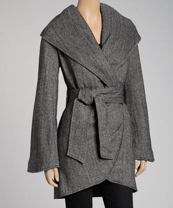 Dark Gray Wool-Blend Tie Jacket