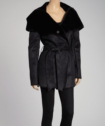 Black Belted Shearling Jacket