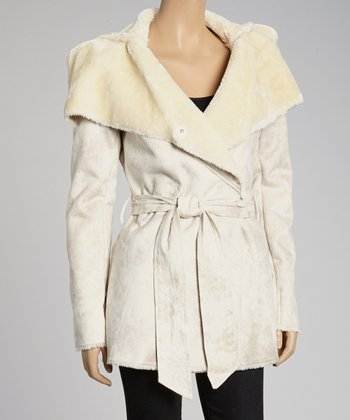Natural Belted Faux Shearling Jacket