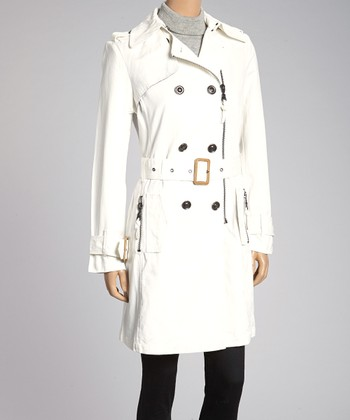 Star White Belted Zipper Trench Coat