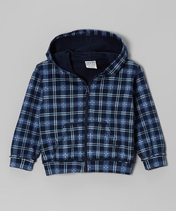 Navy Blue Plaid French Terry Zip-Up Hoodie - Toddler & Boys
