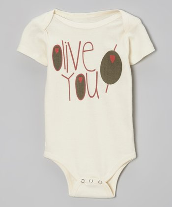 Oatmeal 'Olive You' Organic Bodysuit - Infant