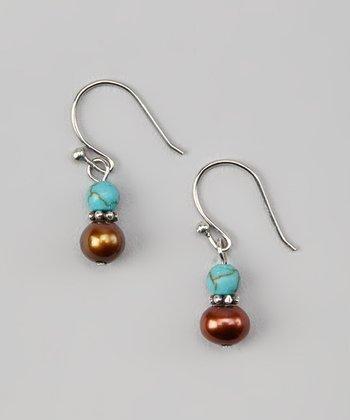 Turquoise & Brown Freshwater Pearl Drop Earrings