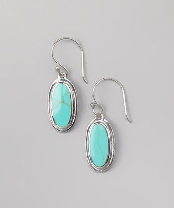 Turquoise & Sterling Silver Oval Earrings
