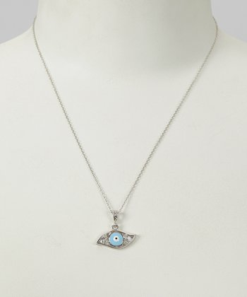 Cubic Zirconia & Sterling Silver Evil Eye Necklace
