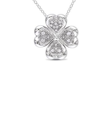 Sterling Silver & Diamond Clover Pendant Necklace