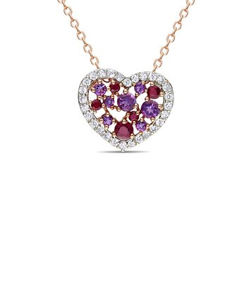 White Topaz & Ruby Heart Pendant Necklace