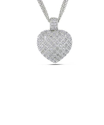 Diamond Pavé Heart Pendant Necklace