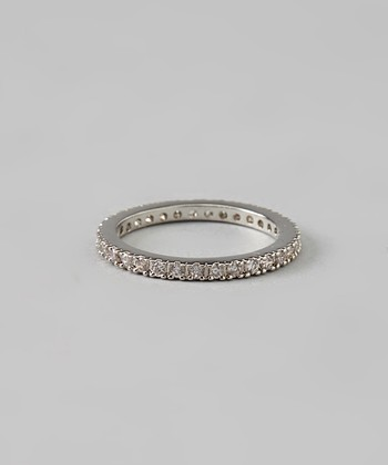 Silver & Cubic Zirconia Round Cut Eternity Band