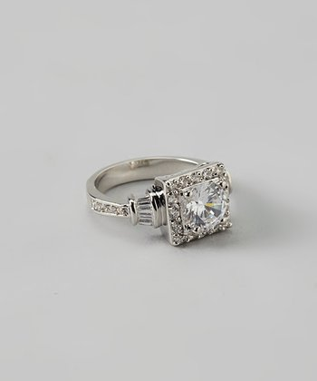 Silver & Cubic Zirconia Square Ring