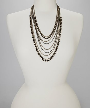 Black Two-Tone Beaded Layer Necklace